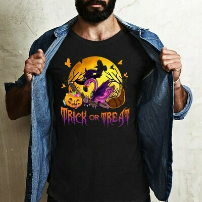 Flamingo Witch Pumpkin Halloween Trick Or Treat for Lovers Halloween Day Family Vacation Team Party Gifts T-Shirt Long Sleeve Sweatshirt Hoodie Jolly Family Gifts