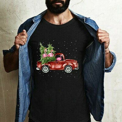Flamingo Red Truck Driver Carrying Christmas Tree On Car Gift For Lovers Christmas Noel Family Vacation Team Party T-Shirt Long Sleeve Sweatshirt Hoodie Jolly Family Gifts