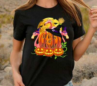 Trick or treat Halloween Flamingo Witch team party shirt gift for Halloween day, Lovers Flamingo Jack o lantern Long Sleeve Sweatshirt Hoodie Jolly Family Gifts