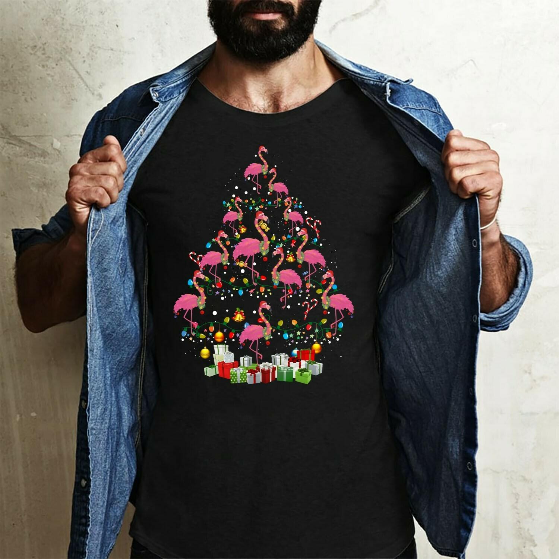 Flamingo Christmas Tree Shirt - Flamingo T Shirt - Christmas Tree Shirt - Holiday Shirt - Christmas Gift Long Sleeve Sweatshirt Hoodie Jolly Family Gifts
