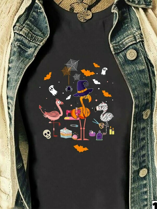 Funny Flamingo Party Patchwork Halloween Cosplay Gift Shirt For Lovers Halloween Long Sleeve Sweatshirt Hoodie Jolly Family Gifts