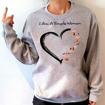 I Am A Simple Woman Who Love Flamingo Pumpkin Halloween Gift shirt for Women Mother Grandma Long Sleeve Sweatshirt Hoodie Jolly Family Gifts