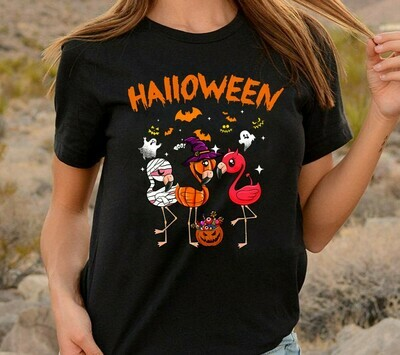 Happy Halloween Flamingo Witch Team Trick or Treat Party shirt gift for Halloween day, Lovers Flamingo Jack o lantern Long Sleeve Sweatshirt Hoodie Jolly Family Gifts