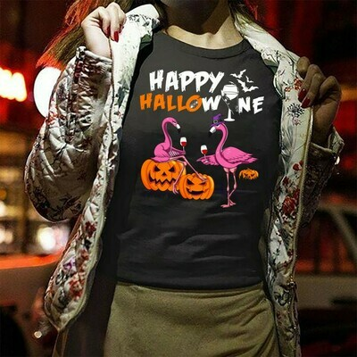 Flamingo Witch Drink Wine Happy Hallowine, Flamingo Pumpkin Not So Scary Gift for Loves Halloween Day Family Vacation Party Gifts T-Shirt Long Sleeve Sweatshirt Hoodie Jolly Family Gifts