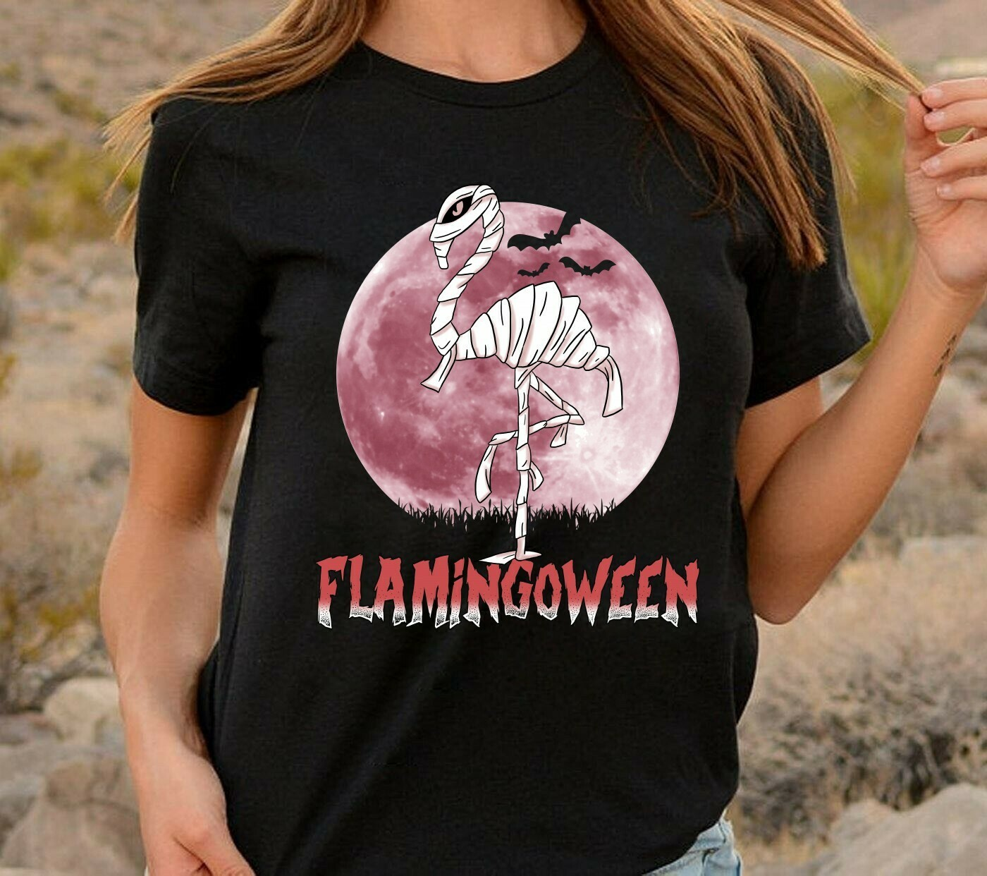 Flamingoween Mummy Flamingo In Moonlight Not So Scary Gift for Loves Halloween Day Family Vacation Team Party Gifts T-Shirt Long Sleeve Sweatshirt Hoodie Jolly Family Gifts
