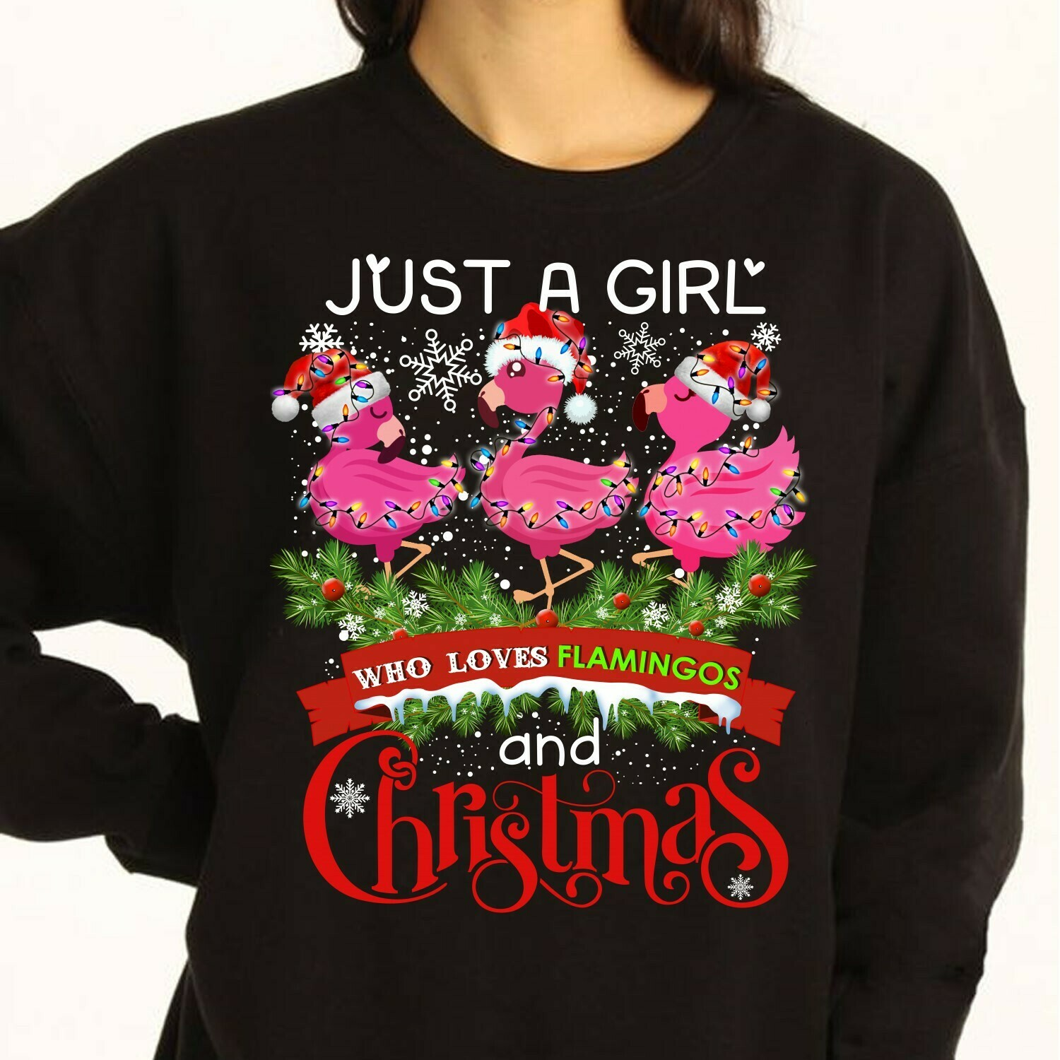 Flamingo Satan Just A Girl Who Loves Flamingos And Christmas Gifts For Lovers Christmas Noel Family Vacation Friends Team Party T-Shirt Long Sleeve Sweatshirt Hoodie Jolly Family Gifts
