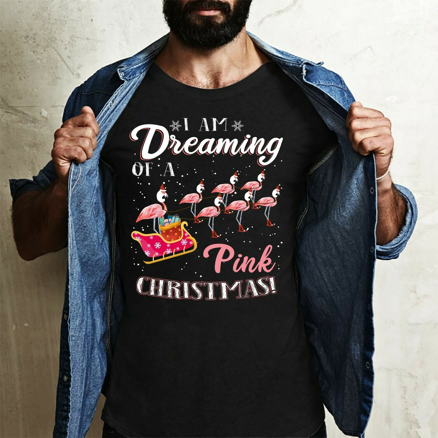 Flamingo Satan I Am Dreaming Of A Pink Christmas Gifts For Lovers Christmas Noel Family Vacation Team Party T-Shirt Long Sleeve Sweatshirt Hoodie Jolly Family Gifts