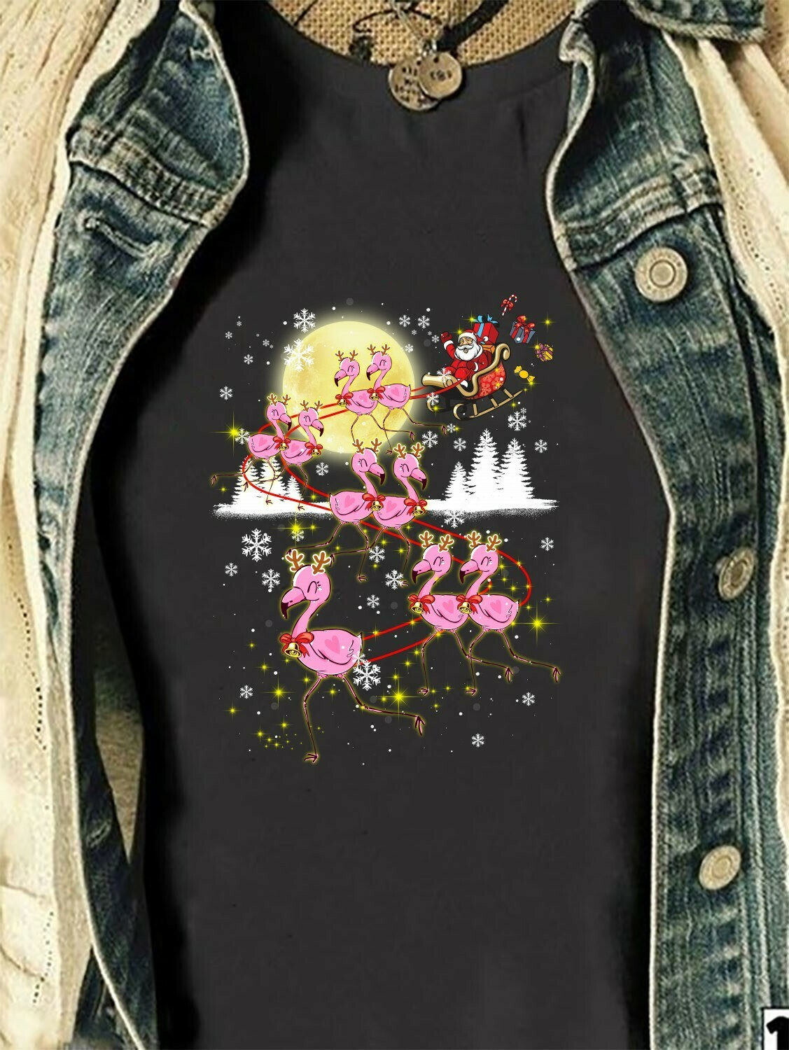 Flamingos Mashup Christmas Santa Claus's Reindeer Lovers Pink Flamingo Family Very Merry Christmas Party Costume Clothing Gifts T-Shirt Long Sleeve Sweatshirt Hoodie Jolly Family Gifts