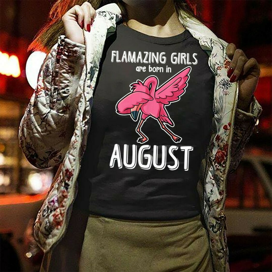 Flamingo Flamazing Girls Are Born In August Gift T-Shirt Women Lady Sister Birthday Gifts in August Dabbing Funny Flamingo Long Sleeve Sweatshirt Hoodie Jolly Family Gifts