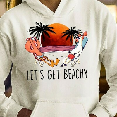 Let's Get Beachy Flamingo and Unicorn Beach vacation t-shirt sweet summer time lover gift tee Men clothing Sunny day Long Sleeve Sweatshirt Hoodie Jolly Family Gifts
