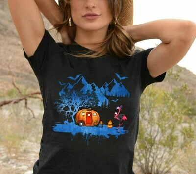 Flamingo Halloween Drink Wine Witch Pumpkin Camping Car Hiking Gift T-Shirt for Women Lady Camper Camping Lovers Long Sleeve Sweatshirt Hoodie Jolly Family Gifts