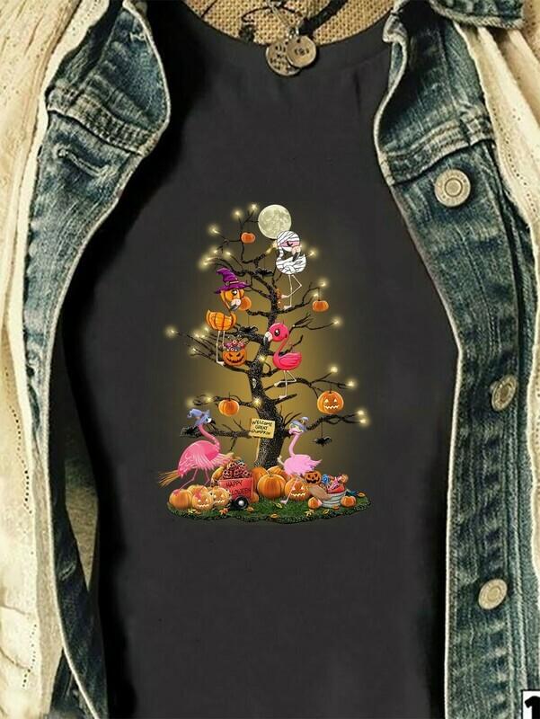 Flamingo Halloween Tree Shirt - Welcome great pumpkin - Funny Halloween Day gift Long Sleeve Sweatshirt Hoodie Jolly Family Gifts