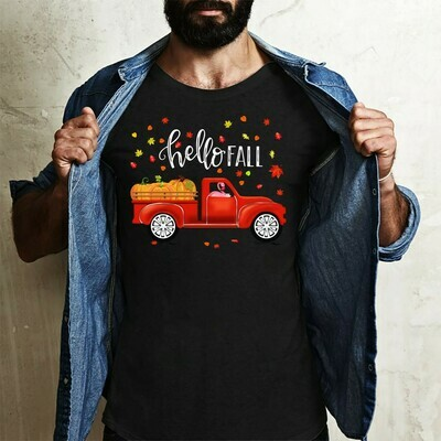 Hello Fall Flamingo Truck Driver Carrying Pumpkins gift Shirt for Lover Autumn, Funny Halloween day Long Sleeve Sweatshirt Hoodie Jolly Family Gifts