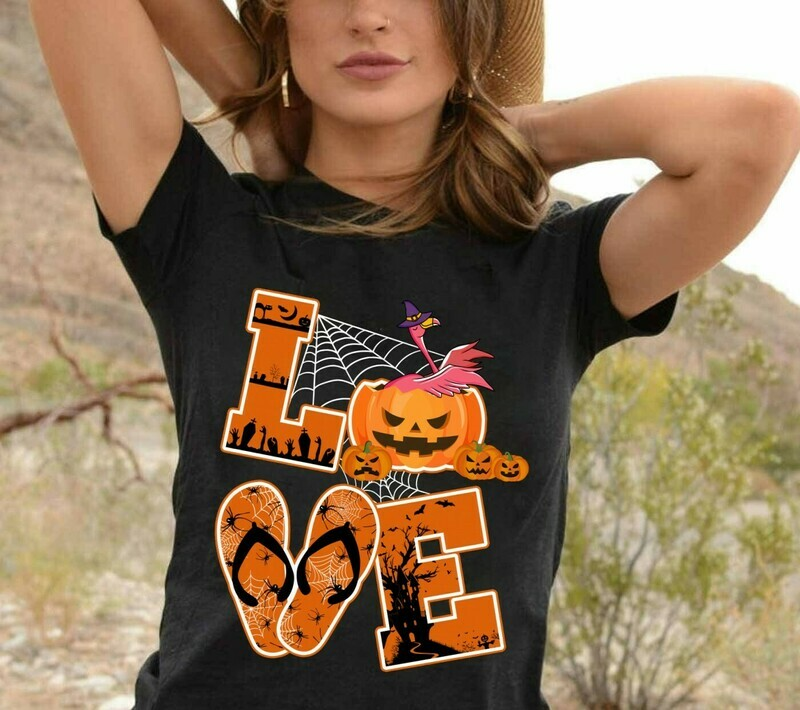 Love Flamingo Halloween Gift shirt For Lovers Flamingo Pumpkin Halloween Gift shirt for Women Mother Grandma Long Sleeve Sweatshirt Hoodie Jolly Family Gifts