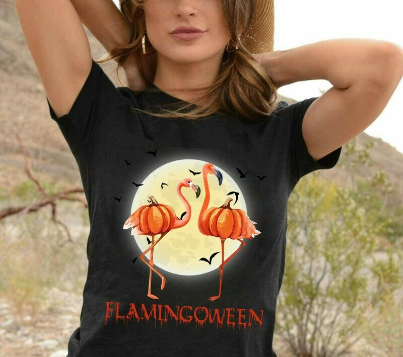 Flamingoween Pumpkin Bat Not So Scary for Lovers Halloween Day Women Grandma Mother Family Vacation Team Party Gifts T-Shirt Long Sleeve Sweatshirt Hoodie Jolly Family Gifts