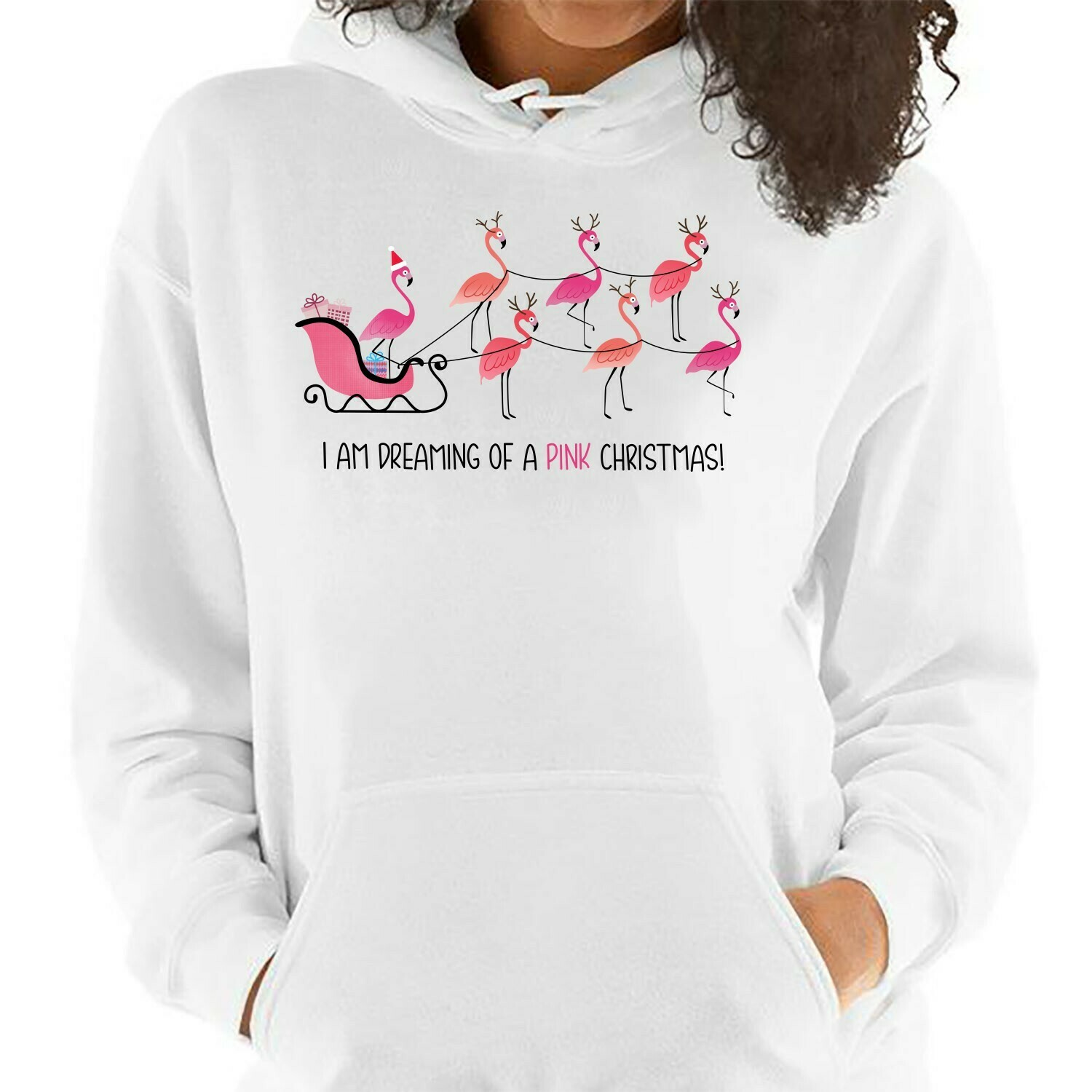 I Am Dreaming Of A Pink Christmas Gifts For Lovers Christmas Noel Family Vacation Team Party T-Shirt Long Sleeve Sweatshirt Hoodie Jolly Family Gifts