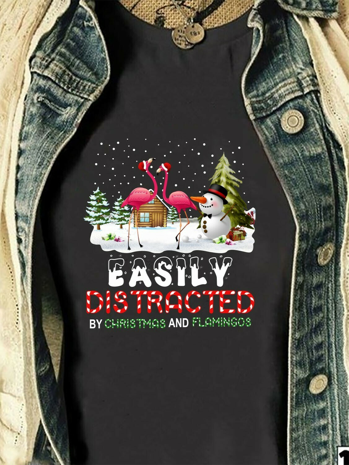 Easily Distracted By Christmas And Flamingos Gift For Lovers Christmas Noel Family Vacation Friends Team Party T-Shirt Long Sleeve Sweatshirt Hoodie Jolly Family Gifts