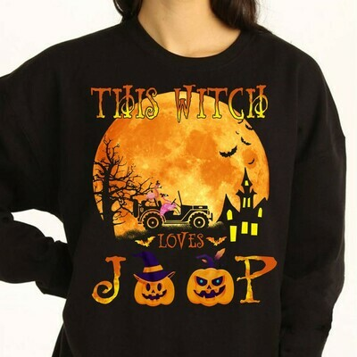Flamingo Witch This Witch Loves Jeep In The Moonlight Gifts Idea For Yourself And Funny Friends Flamingo Boo Witch Halloween Squad T Shirt Long Sleeve Sweatshirt Hoodie Jolly Family Gifts