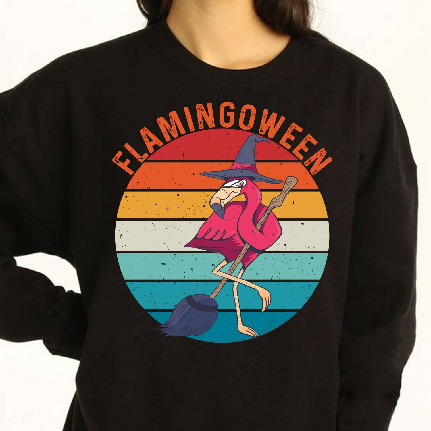 Flamingoween Witch Flamingo Vintage Not So Scary Gift for Lovers Halloween Day Women Grandma Mother Family Vacation Team Party Gifts T-Shirt Long Sleeve Sweatshirt Hoodie Jolly Family Gifts