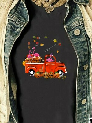 Flamingo Red Truck Driver Carrying Halloween Pumpkin On Car Gift For Lovers Autumn Family Vacation Team Party T-Shirt Long Sleeve Sweatshirt Hoodie Jolly Family Gifts