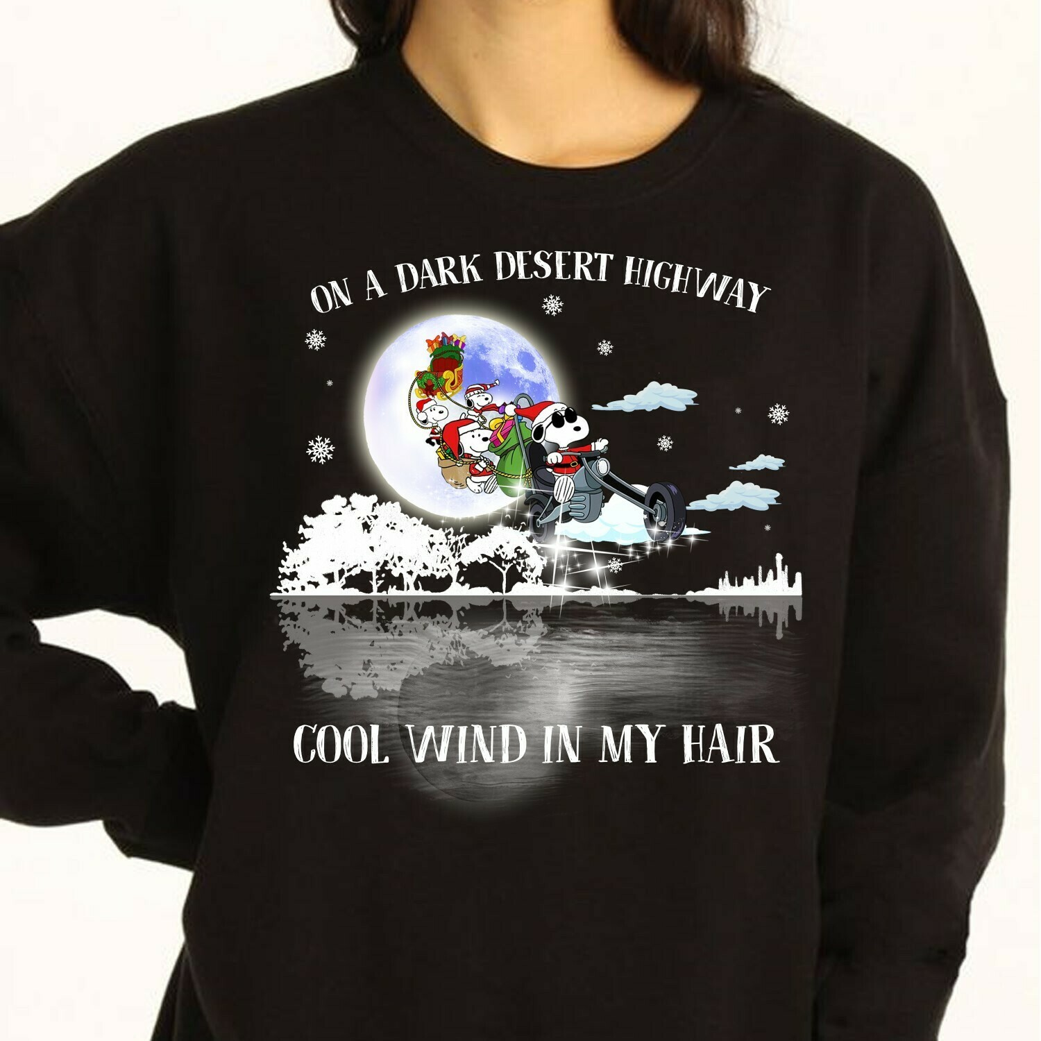 Snoopy Christmas On A Dark Desert Highway Cool Wind In My Hair Snoopy Woodstock Charlie Brown Snowman Xmas Merry Christmas Family T-Shirt Long Sleeve Sweatshirt Hoodie Jolly Family Gifts
