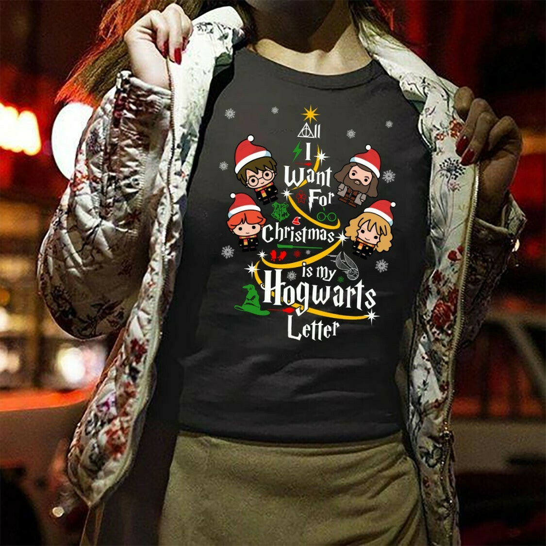 I Want For Christmas Is My Hogwarts Letter Harry Porter And Friends Tree Merry Christmas Lovers Christmas Gift for Best Friend Family TShirt Long Sleeve Sweatshirt Hoodie Jolly Family Gifts