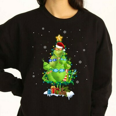 The Grinch Tree,Resting Grinch Face Merry Christmas Xmas Gifts Noel Holly Jolly Holiday Family Vacation Friends Team Party T-Shirt Long Sleeve Sweatshirt Hoodie Jolly Family Gifts