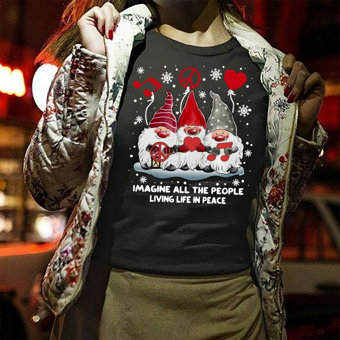 Gnomies imagine all the people living life in peace Christmas,Gnomie Christmas Elf,Gnomie Elves Three Gnomes Tee T-Shirt Gifts Long Sleeve Sweatshirt Hoodie Jolly Family Gifts