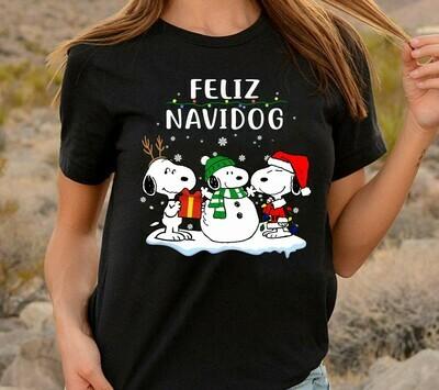 Snoopy Feliz Navidog Christmas,Snoopy Woodstock Charlie Brown Christmas Spirit T-shirt Long Sleeve Sweatshirt Hoodie Jolly Family Gifts