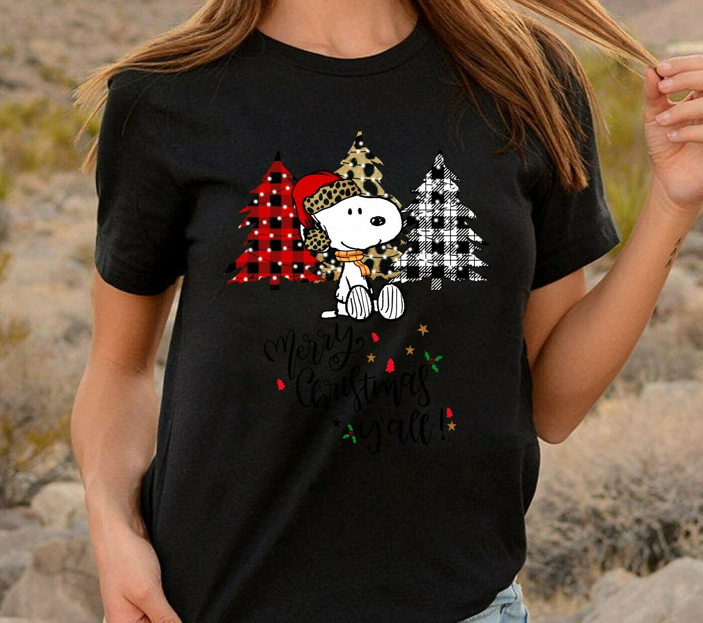 Merry Christmas y'all,Tree Snoopy Gift Xmas Ugly,Lumberjack,Buffalo Plaid,Leopard print Christmas Trees T-Shirt Long Sleeve Sweatshirt Hoodie Jolly Family Gifts
