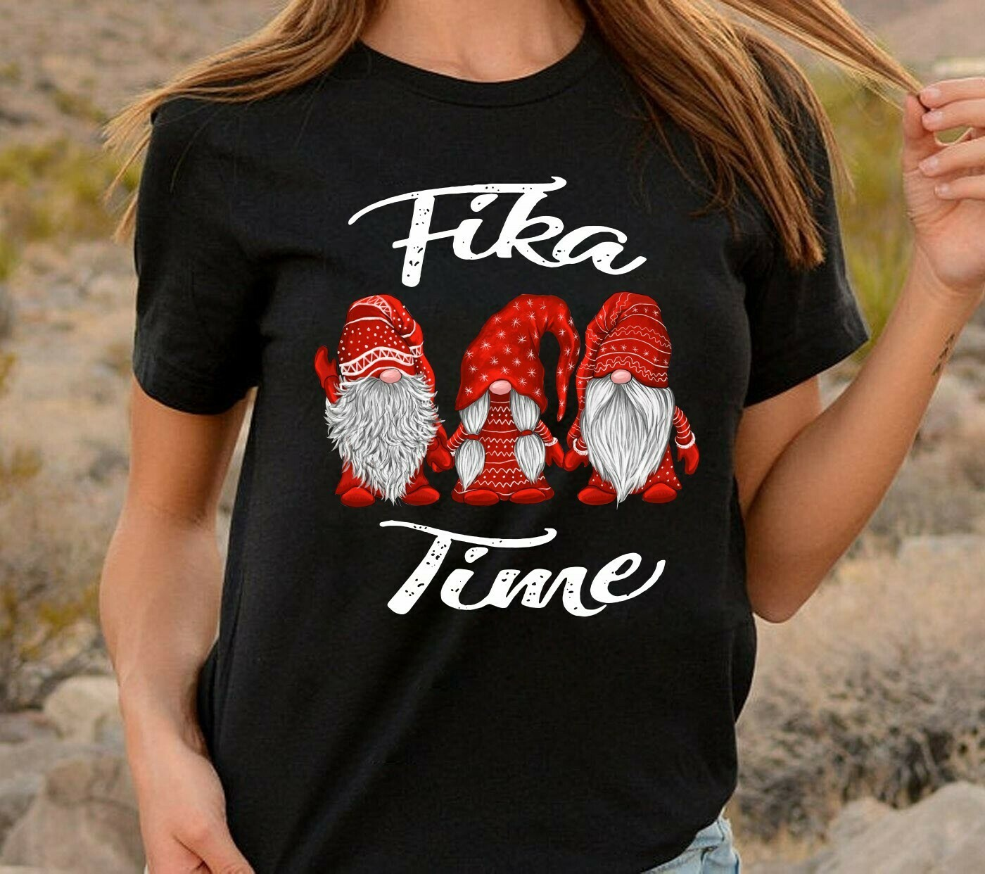 Fika Time Hanging With Red Gnomies Christmas T-Shirt,Three gnomes Ugly Sweater Christmas Tee,Plaid Funny Gnome Sweatshirt Long Sleeve Sweatshirt Hoodie Jolly Family Gifts
