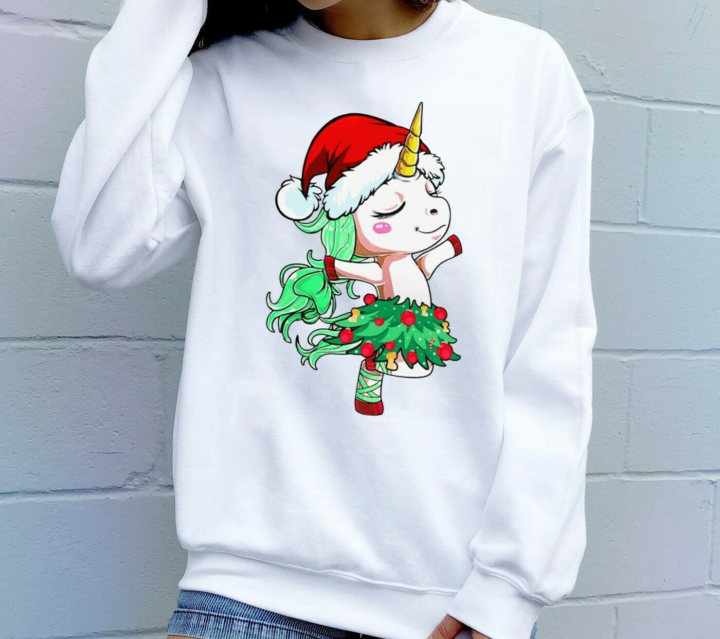 Santa Unicorn Ugly Christmas Tree Dance,Unicorn Christmas,Dabbing Around Christmas Tree,Llama Unicorn Cute,Magical Christmas T-shirt Long Sleeve Sweatshirt Hoodie Jolly Family Gifts