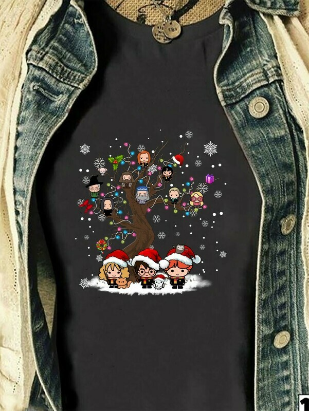 Harry Porter And Friends Tree Merry Christmas Lovers Halloween Christmas Noel Costume Gifts for Best Friend Family Vacation T-Shirt Long Sleeve Sweatshirt Hoodie Jolly Family Gifts
