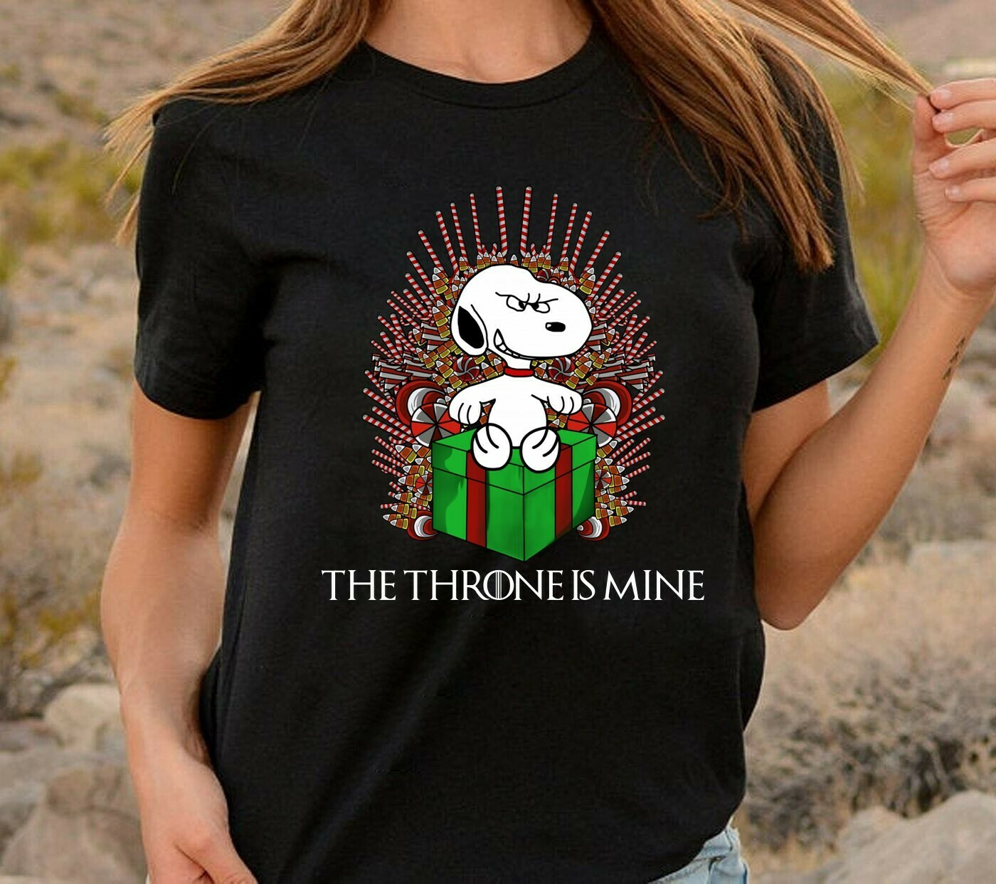 The Throne Is Mine Snoopy Christmas,Snoopy Woodstock Charlie Brown Snowman Xmas Tree Merry Christmas 2019 Gifts Noel Family Party T-Shirt Long Sleeve Sweatshirt Hoodie Jolly Family Gifts
