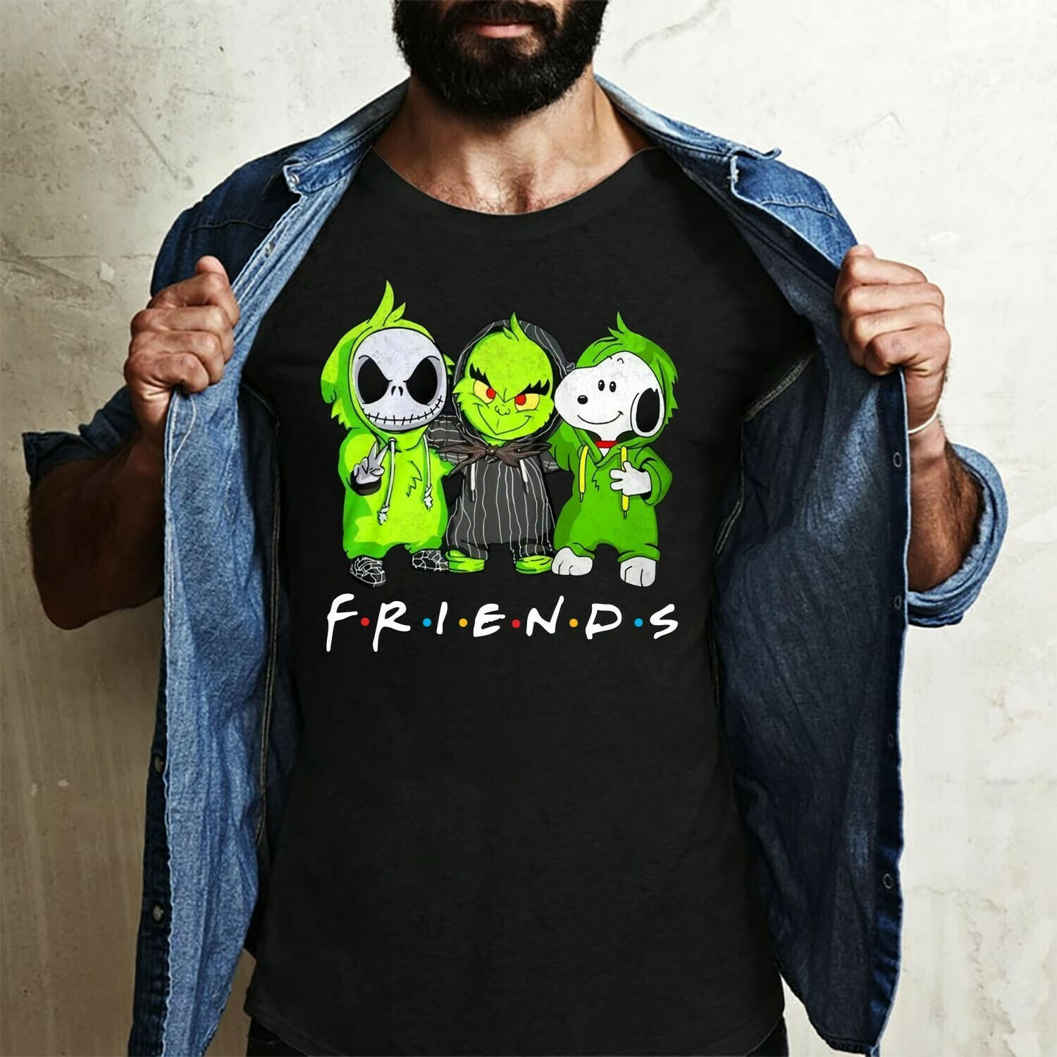 Baby Jack Skellington and Charlie Brown Snoopy The Nightmare Before Christmas,Star Wars Yoda The Grinch Stole Christmas,,Noel Holly T-Shirt Long Sleeve Sweatshirt Hoodie Jolly Family Gifts