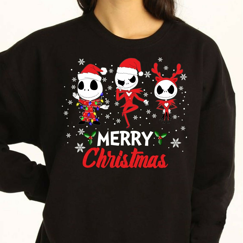 Jack Skellington Merry Christmas Shirt,The Nightmare Before Christmas Disney Villains Halloween Unisex T-Shirt Long Sleeve Sweatshirt Hoodie Jolly Family Gifts