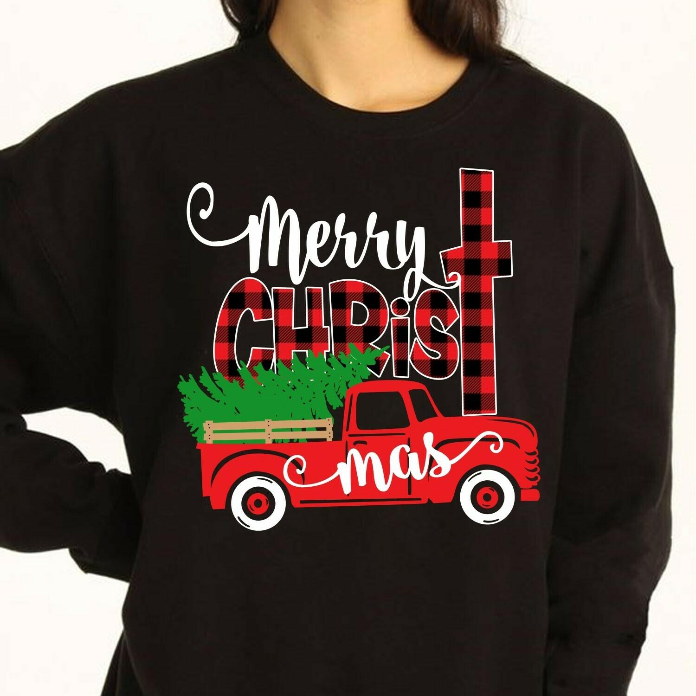 Merry Christmas,Christmas Truck Shirt,Christ Buffalo Plaid Shirt,Buffalo Plaid Christmas,Jesus Christ tee,Christ Christmas Jolly Family Long Sleeve Sweatshirt Hoodie Jolly Family Gifts