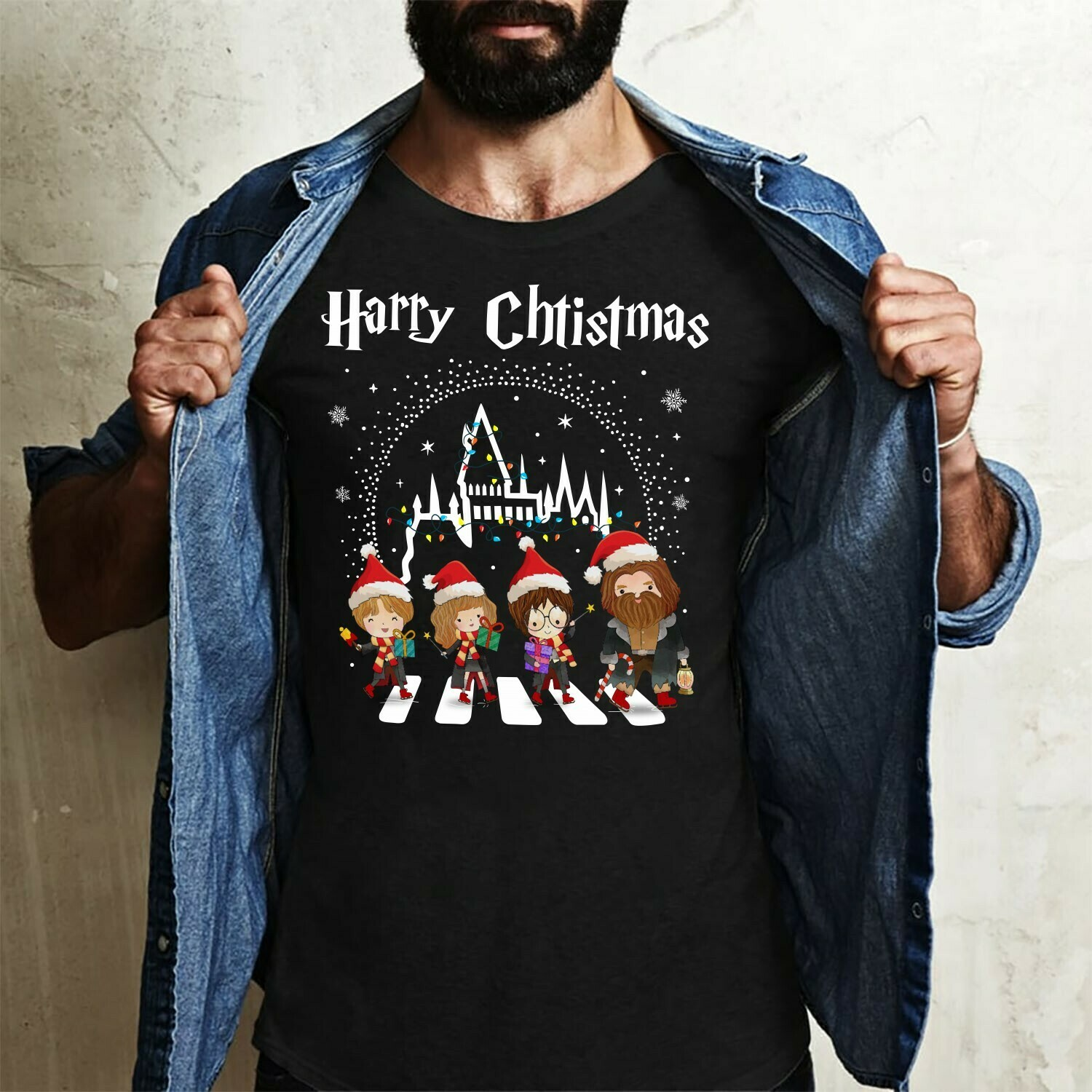 Harry Christmas Shirt Harry Porter And Friends Merry Christmas Noel Holly Jolly Holiday Costume Gift for Best Friend Family Vacation T-Shirt Long Sleeve Sweatshirt Hoodie Jolly Family Gifts