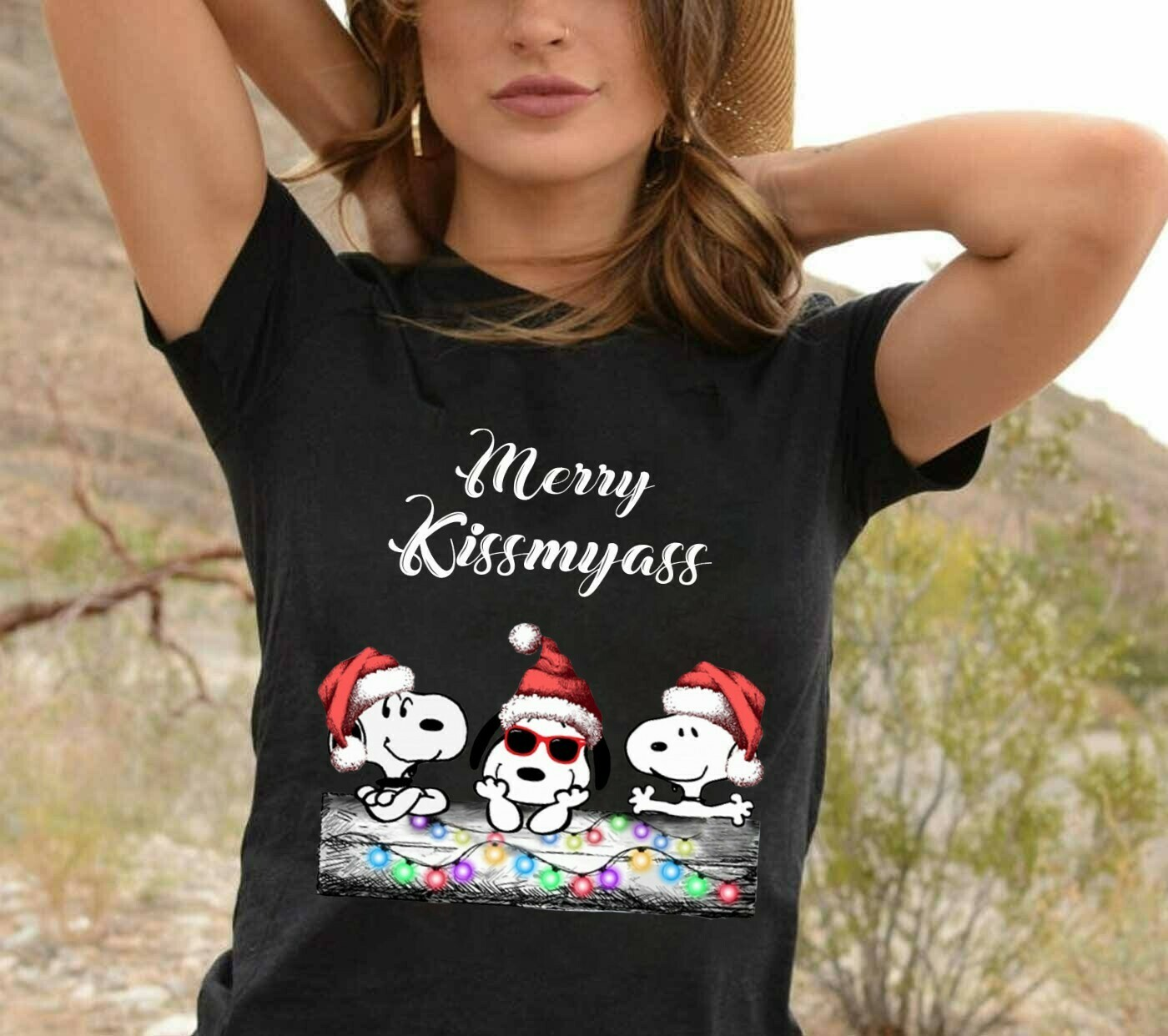 Snoopy Merry Kissmyass Snoopy Christmas,Snoopy Woodstock Charlie Brown Snowman Xmas Tree Merry Christmas 2019 Gift Noel Family Party T-Shirt Long Sleeve Sweatshirt Hoodie Jolly Family Gifts