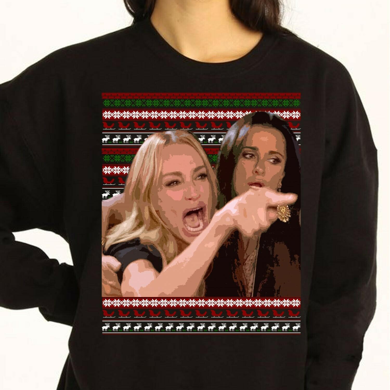 Woman vs Cat Meme Woman Yelling AtCat Ugly Christmas Sweater Funny Meme Xmas Sweatshirt Cat Lover Sweater Party Christmas Party T-Shirt Long Sleeve Sweatshirt Hoodie Jolly Family Gifts
