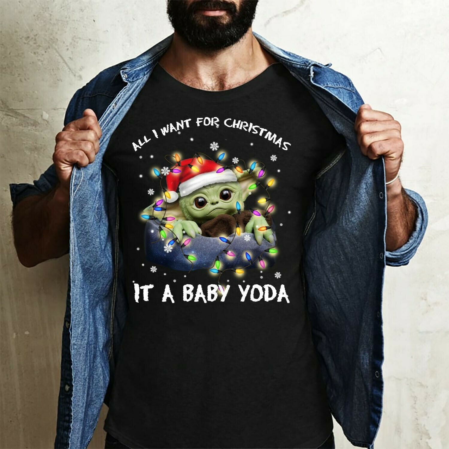 All I Want For Christmas Is A Baby Yoda,Star Wars The Mandalorian The Child When Your Song Comes On,Baby Humanoid T- Shirt Long Sleeve Sweatshirt Hoodie Jolly Family Gifts