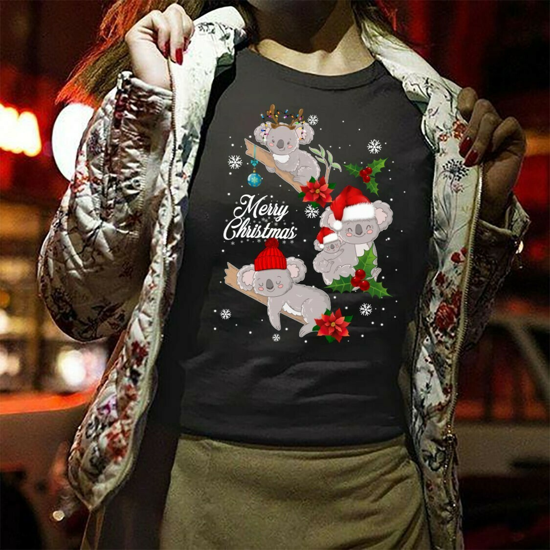 merru christmas Koala Long Sleeve Sweatshirt Hoodie Jolly Family Gifts
