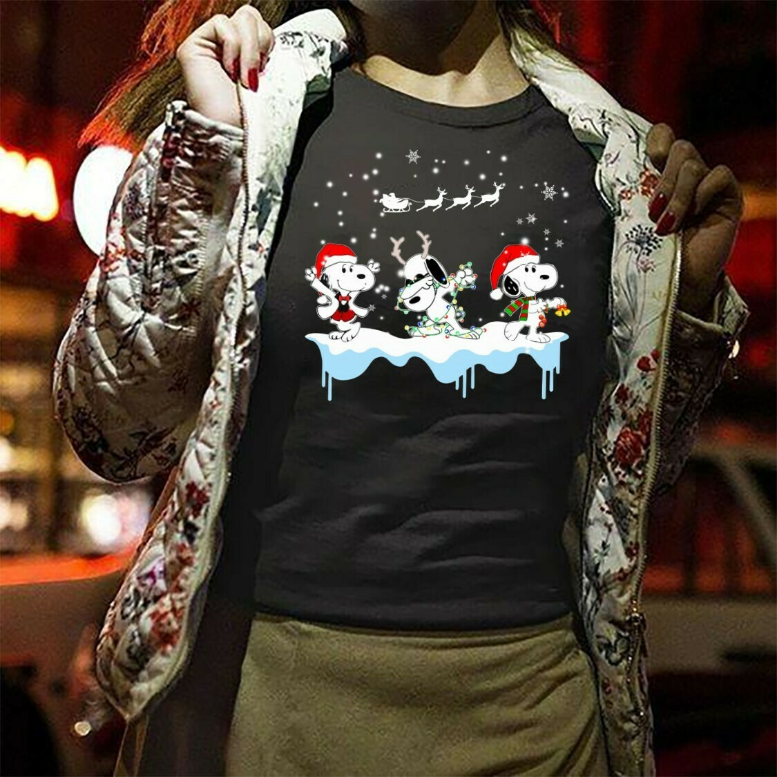 Snoopy And Friends Snoopy Christmas,Snoopy Woodstock Charlie Brown Snowman Xmas Tree Merry Christmas 2019 Gifts Noel Family Party T-Shirt Long Sleeve Sweatshirt Hoodie Jolly Family Gifts