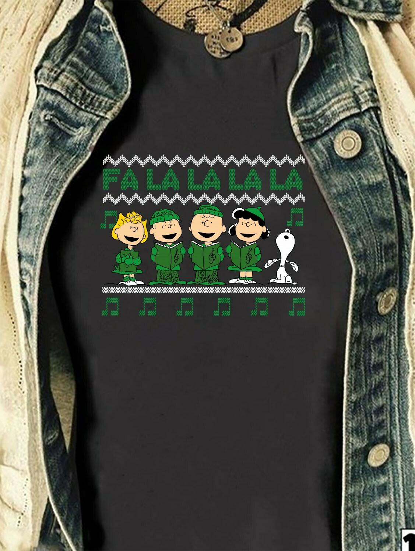 Peanuts Caroling FALALA Christmas pattern,Peanuts Carolers Charlie Brown,FaLaLaLaLa Y'all Design on Next Level Raglan Sleeve T Shirt Long Sleeve Sweatshirt Hoodie Jolly Family Gifts