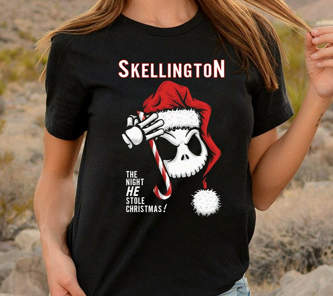 Skellington the night he stole christmas Disney The Nightmare Before Xmas Jack Sketch Ugly Tim Burton's Distressed Faces Men's T-Shirt Long Sleeve Sweatshirt Hoodie Jolly Family Gifts
