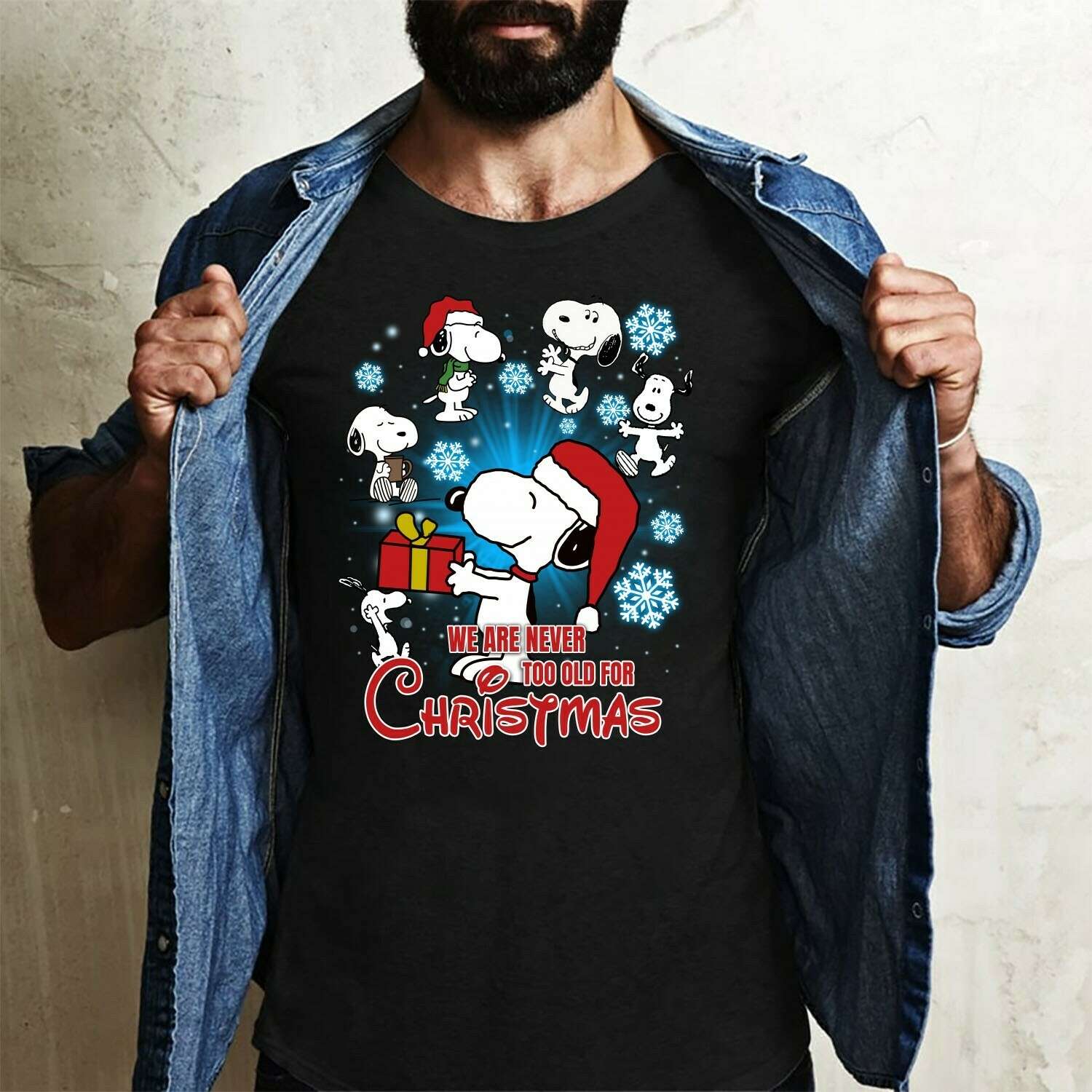 We Are Never Too Old For Christmas Dabbing Snoopy Cricut Silhouette Ugly Snoopy And Friends Christmas Snoopy Woodstock Charlie Brown T-Shirt Long Sleeve Sweatshirt Hoodie Jolly Family Gifts