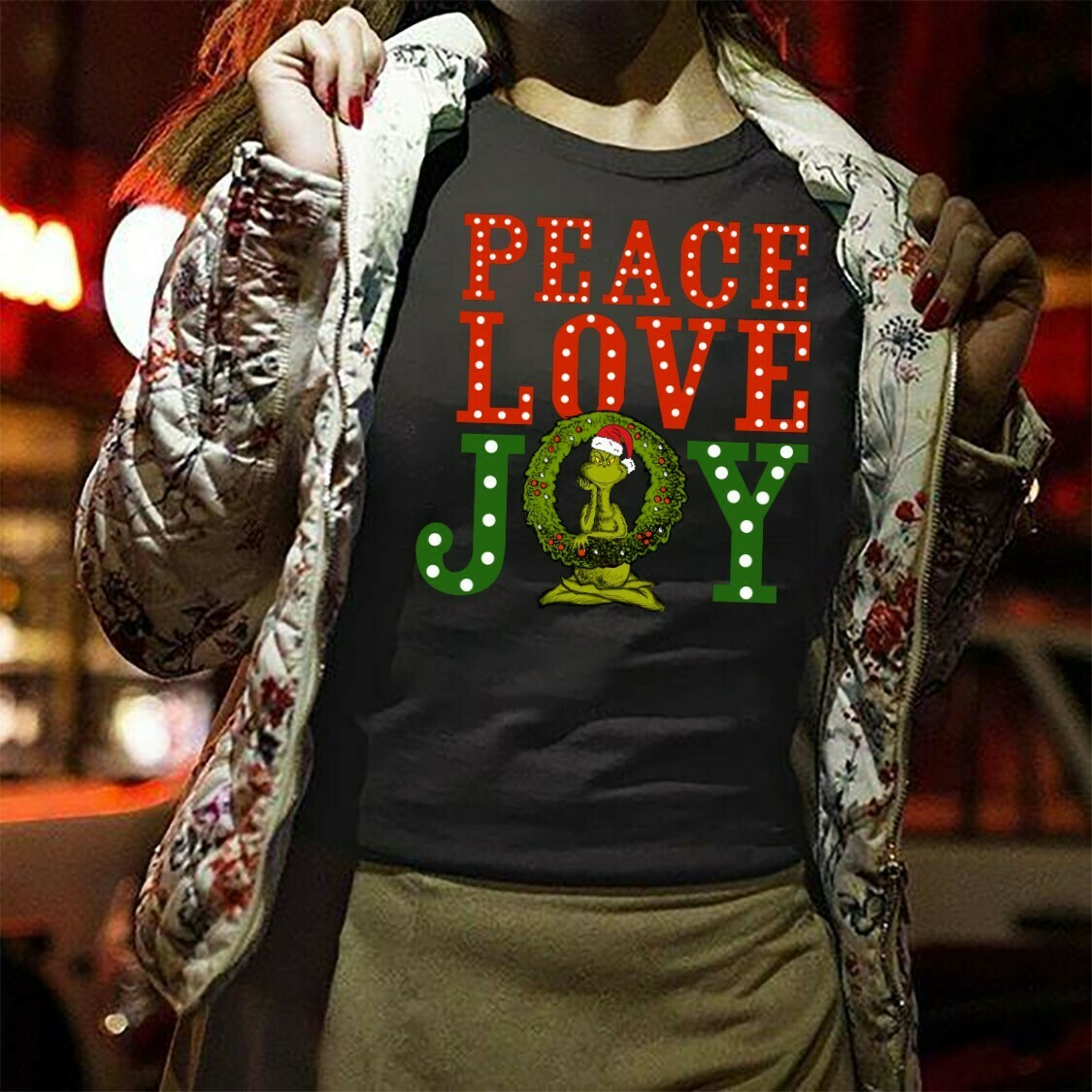 Peace Joy & Love Grinch Christmas,Christian Religious Faith Jesus,HYGGE - Rustic Love Peace Joy Sack Burlap Tê T-Shirts Long Sleeve Sweatshirt Hoodie Jolly Family Gifts