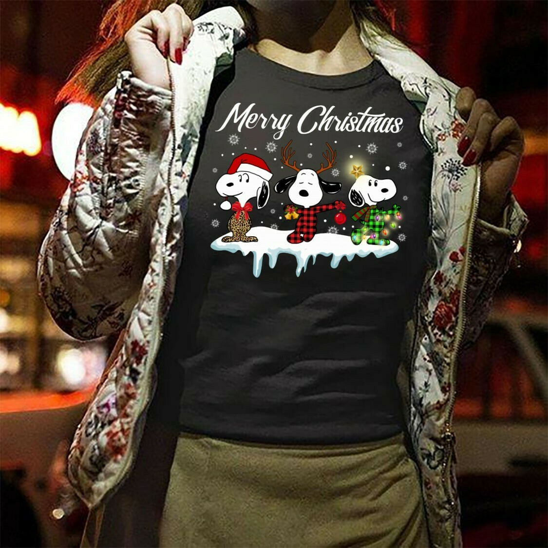 Merry Christmas Snoopy Lumberjack Buffalo Plaid Snoopy And Friends Christmas Snoopy Woodstock Charlie Brown Gifts Noel Family Party T-Shirt Long Sleeve Sweatshirt Hoodie Jolly Family Gifts