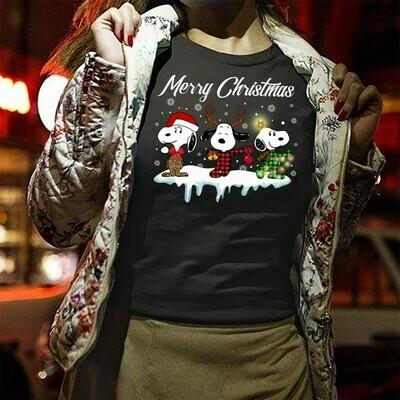 Merry Christmas Snoopy Lumberjack Buffalo Plaid Snoopy And Friends Christmas Snoopy Woodstock Charlie Brown Gifts Noel Family Party T-Shirt Long Sleeve Sweatshirt Hoodie Jolly Family Gifts