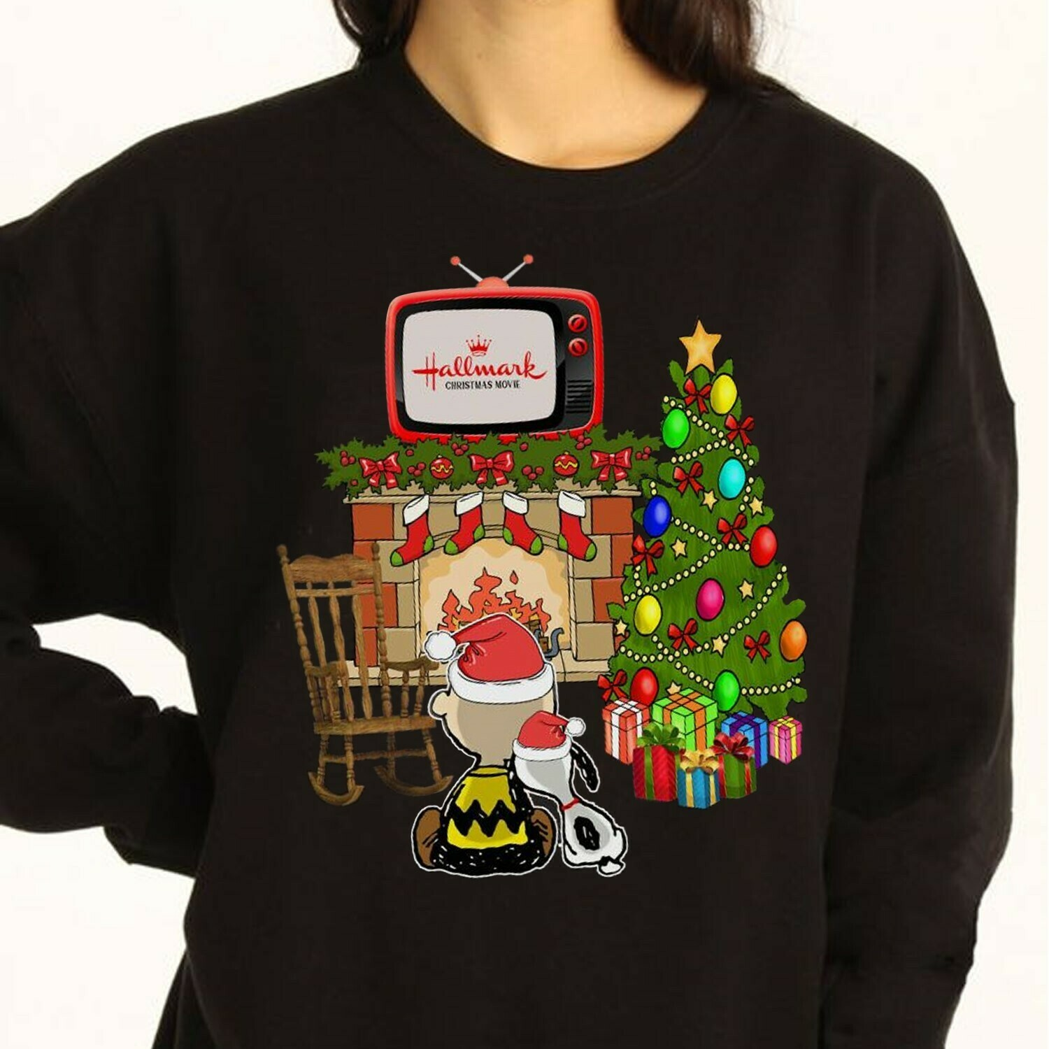 Hallmark christmas movie Winnie Watching The Snoopy and Friends Christmas Tree,Gifts For Lovers Christmas Noel Friend Team Party T-Shirt Long Sleeve Sweatshirt Hoodie Jolly Family Gifts
